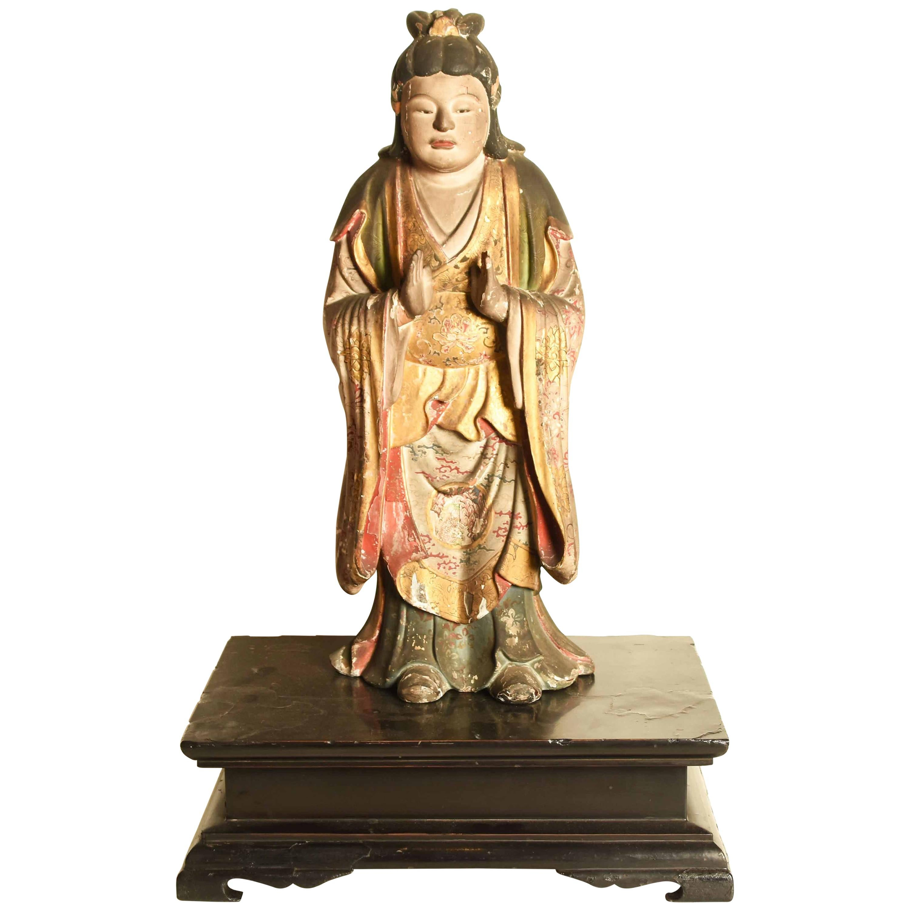 Antique Japanese Gilded Statue of a Shinto God, Momoyama Period