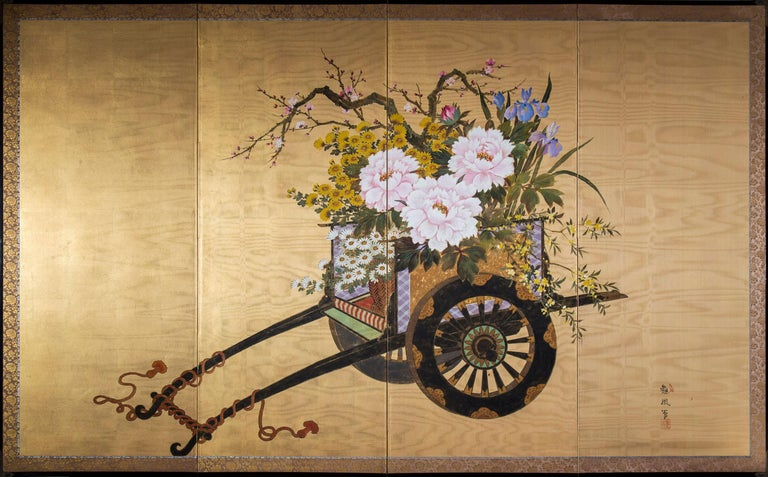 Chinoiserie Antique Japanese Gold and Polychrome Painted Silk Four-Panel Screen