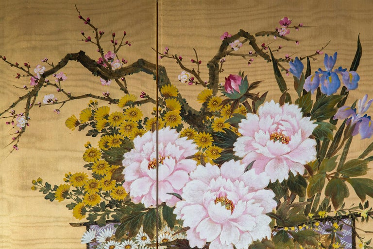 Hand-Painted Antique Japanese Gold and Polychrome Painted Silk Four-Panel Screen