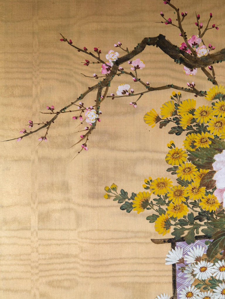 Hand-Painted Antique Japanese Gold and Polychrome Painted Silk Four-Panel Screen For Sale