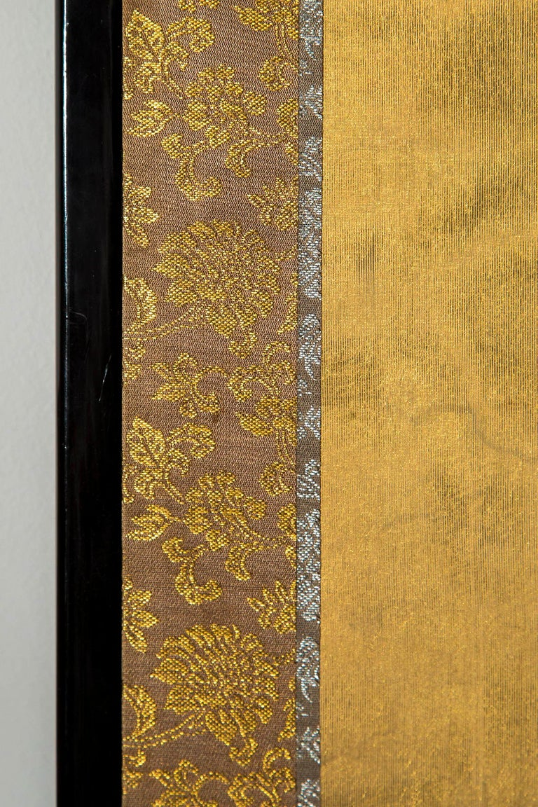 Antique Japanese Gold and Polychrome Painted Silk Four-Panel Screen 2