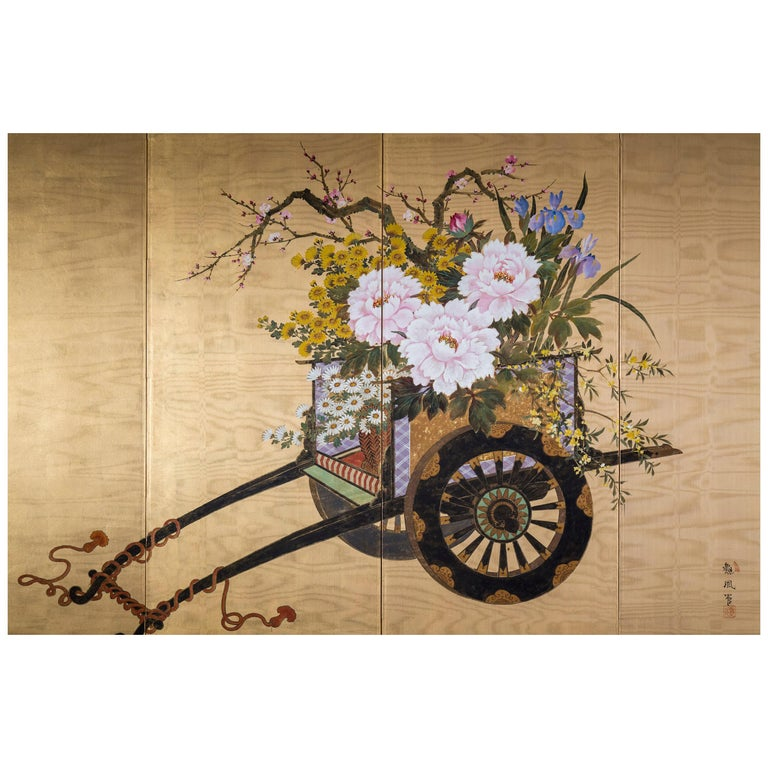 Antique Japanese Gold and Polychrome Painted Silk Four-Panel Screen For Sale