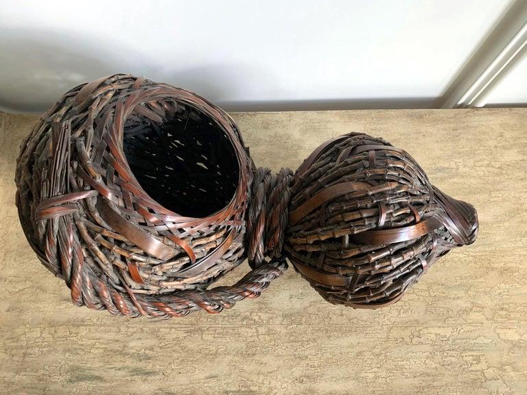 Japonisme Antique Japanese Gourd Shape Bamboo Ikebana Basket For Sale
