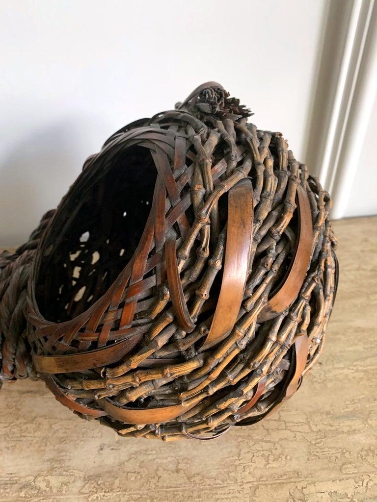 20th Century Antique Japanese Gourd Shape Bamboo Ikebana Basket For Sale
