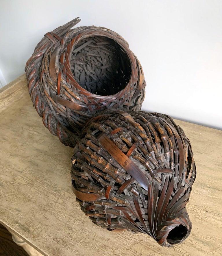 Antique Japanese Gourd Shape Bamboo Ikebana Basket For Sale 1