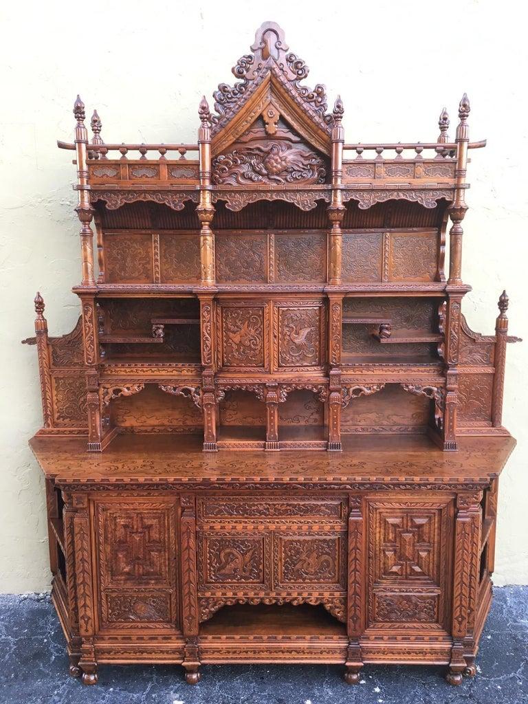 Antique Japanese Hand Carved Elmwood Cabinet, Sideboard ...
