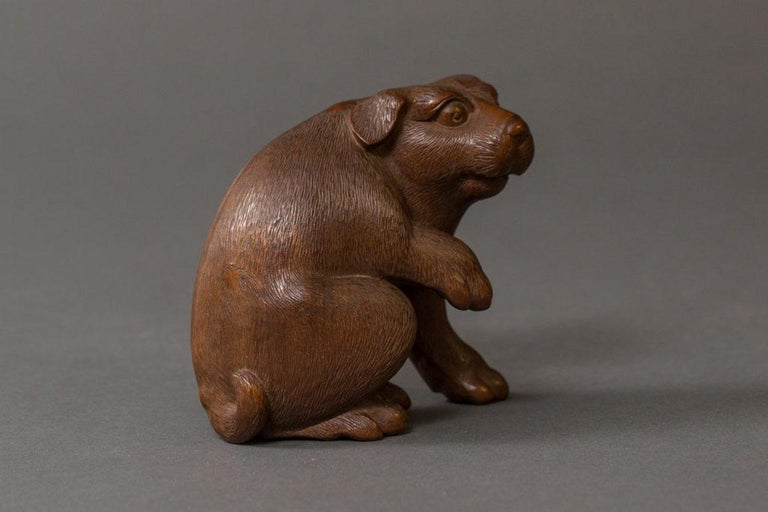 Hand-Carved Antique Japanese Hand Carved Puppy For Sale