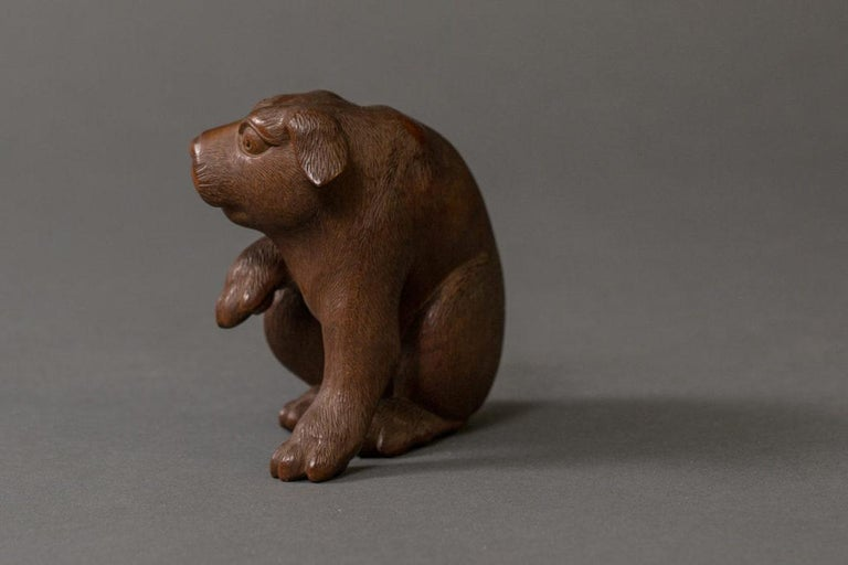 19th Century Antique Japanese Hand Carved Puppy For Sale