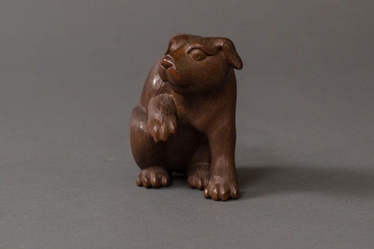Wood Antique Japanese Hand Carved Puppy For Sale
