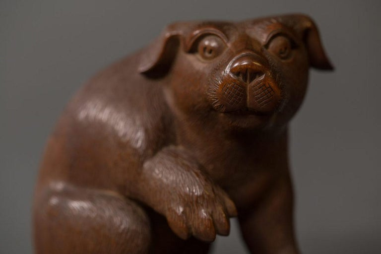 Antique Japanese Hand Carved Puppy For Sale 3