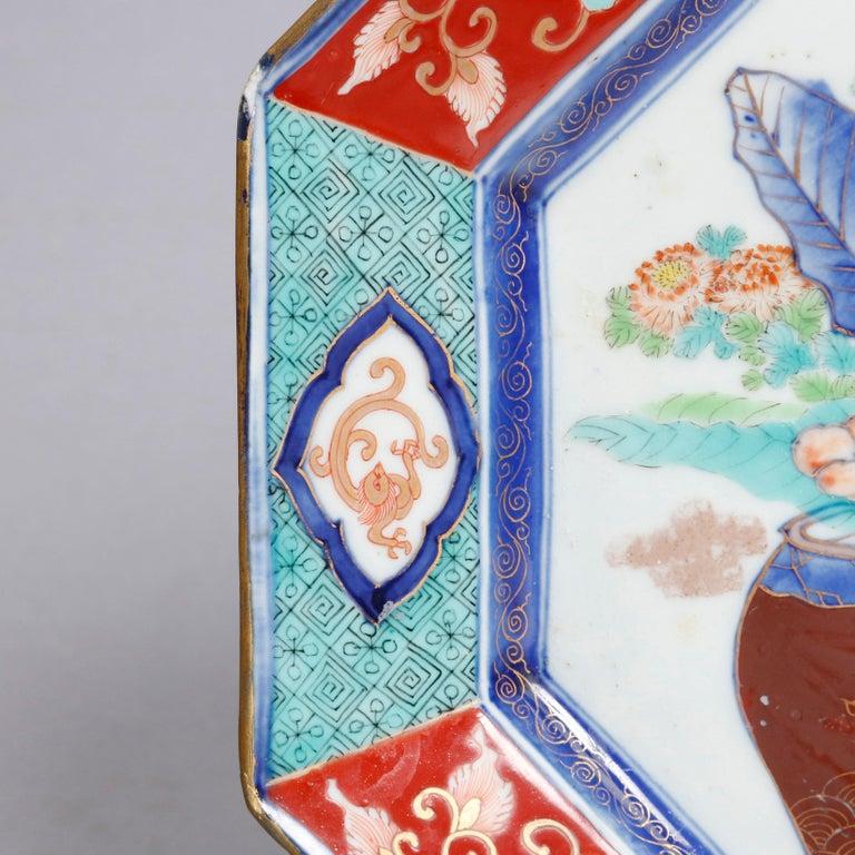 Ceramic Antique Japanese Hand Enameled Octagonal Porcelain Charger, circa 1900 For Sale