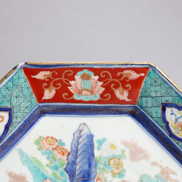 Antique Japanese Hand Enameled Octagonal Porcelain Charger, circa 1900 For Sale 1