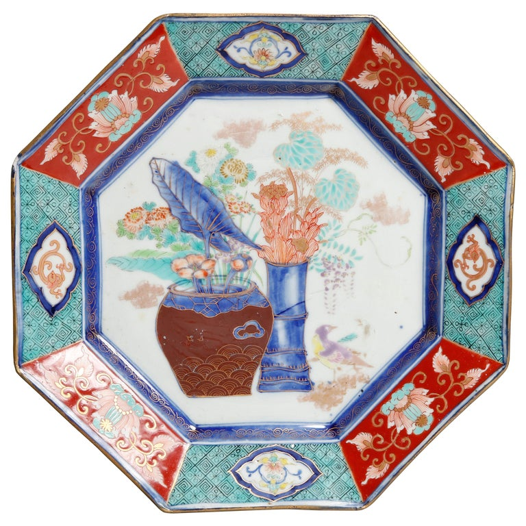 Antique Japanese Hand Enameled Octagonal Porcelain Charger, circa 1900 For Sale