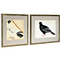 Antique Japanese Hand Enhanced Prints of Pigeons