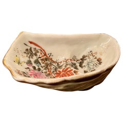 Antique Japanese Hand Painted Kutani Porcelain Oyster Shooter, circa 1890