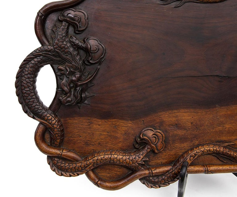 Antique Japanese Hardwood Hand Carved Tray with Dragon Handles For Sale 2