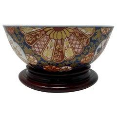 Antique Japanese Imari Bowl on Wooden Stand, circa 1900