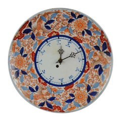 Antique Japanese Imari Clock 19th Century in Red White Blue Arita Japan Porcel