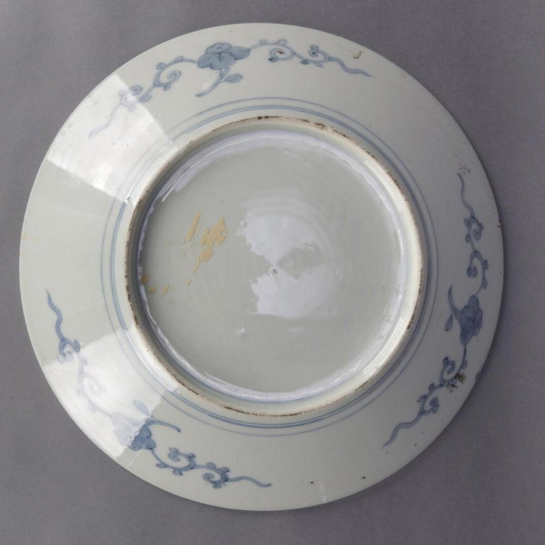 Antique Japanese Imari Hand Painted and Gilt Porcelain Charger with Garden In Good Condition For Sale In Big Flats, NY