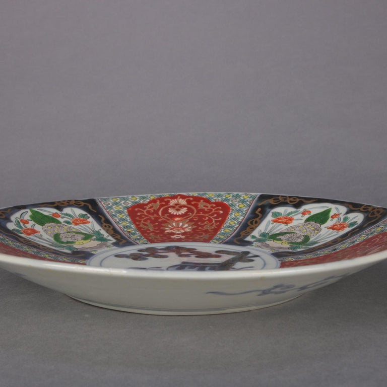 20th Century Antique Japanese Imari Hand Painted and Gilt Porcelain Charger with Garden For Sale
