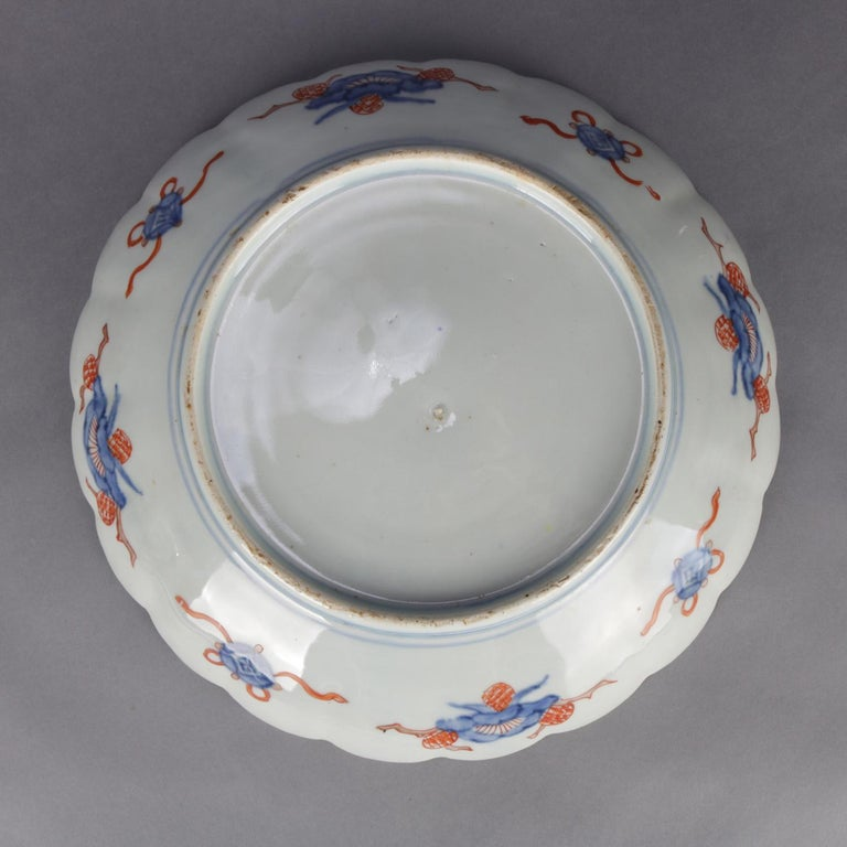 Antique Japanese Imari Hand Painted & Gilt Porcelain Charger with Phoenix In Good Condition For Sale In Big Flats, NY
