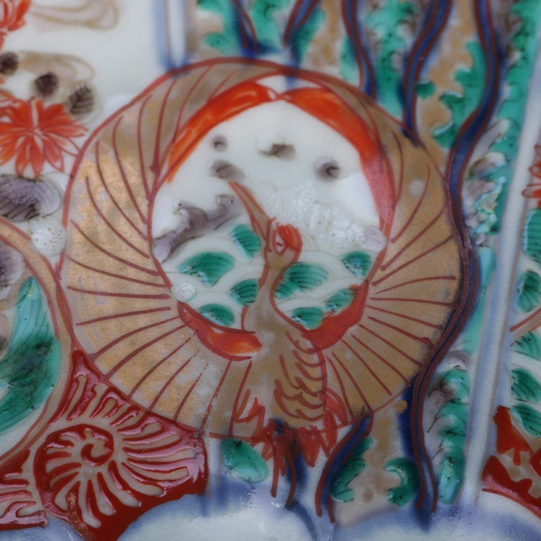 20th Century Antique Japanese Imari Hand Painted & Gilt Porcelain Charger with Phoenix For Sale