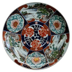Antique Japanese Imari Porcelain Charger with Landscape Scenes, Signed