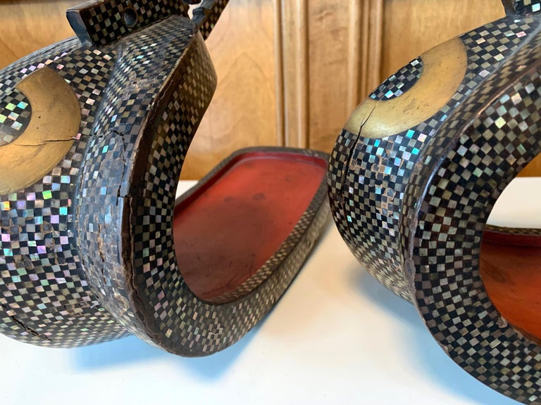 Antique Japanese Iron Stirrups with Abalone Shell Inlays For Sale 11