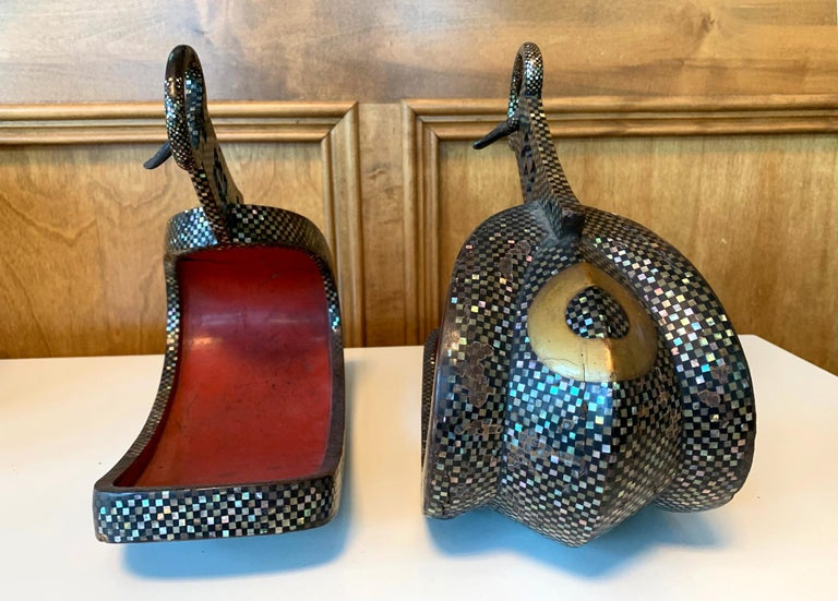Antique Japanese Iron Stirrups with Abalone Shell Inlays In Fair Condition For Sale In Atlanta, GA