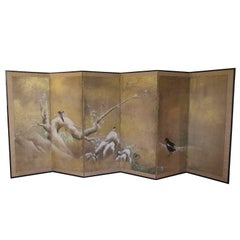 Antique Japanese Kano School Hand-Painted Six-Panel Screen