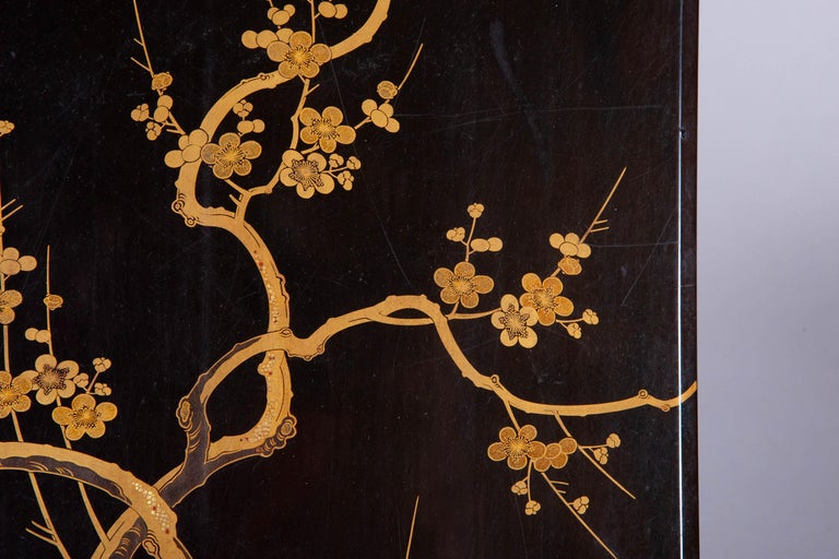 19th Century Antique Japanese Lacquer Box with Plumb, Bamboo, and Pine For Sale