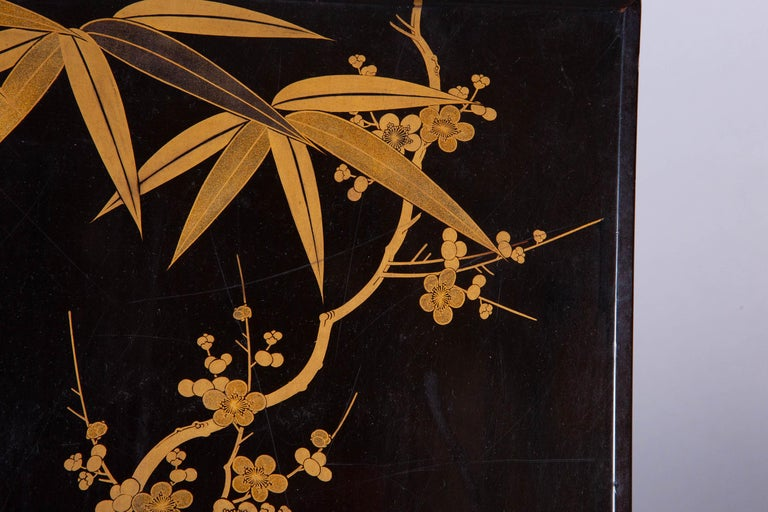 Antique Japanese Lacquer Box with Plumb, Bamboo, and Pine For Sale 1