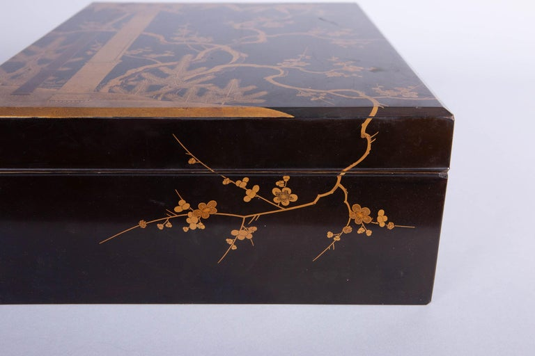 Antique Japanese Lacquer Box with Plumb, Bamboo, and Pine For Sale 3
