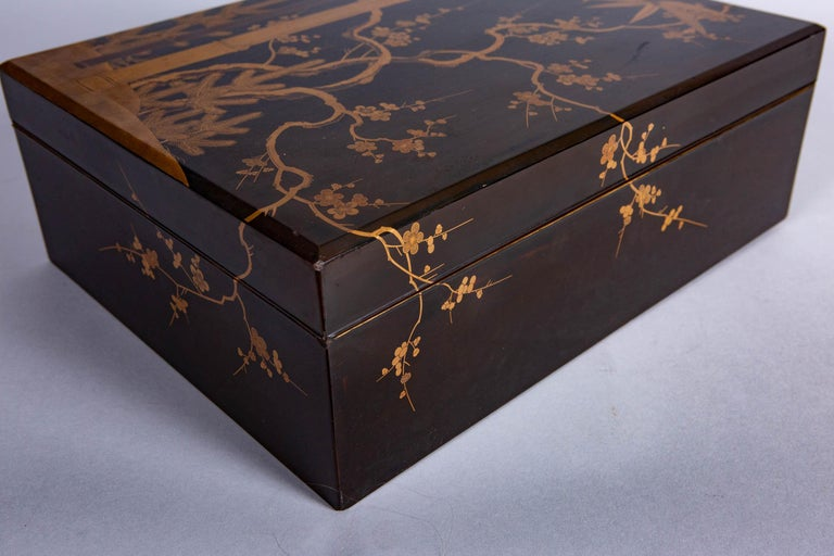 Antique Japanese Lacquer Box with Plumb, Bamboo, and Pine For Sale 4