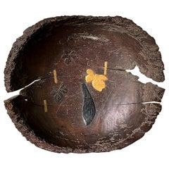 Antique Japanese Lacquered Wood Wabi-Sabi Bowl