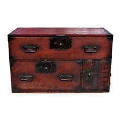 Antique Japanese Low Tansu Chest with Iron Pulls