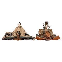 Antique Japanese Mame-Bina Pair, Edo Period