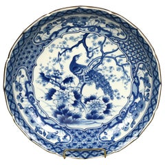 Antique Japanese Meiji Blue & White Porcelain Peacock Low Bowl, 20th C