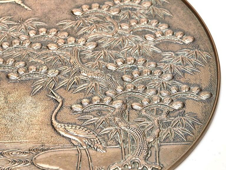 Antique Japanese Meiji Bronze Mirror 19th Century In Good Condition For Sale In Bishop's Stortford, Hertfordshire