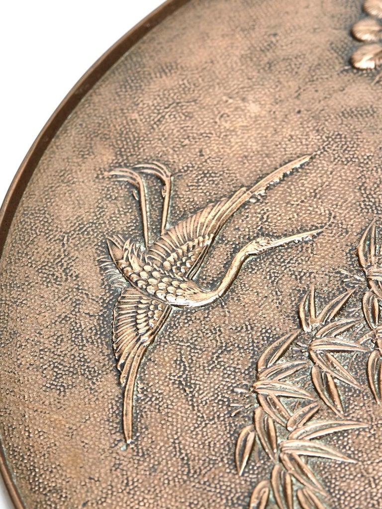 Antique Japanese Meiji Bronze Mirror 19th Century For Sale 5
