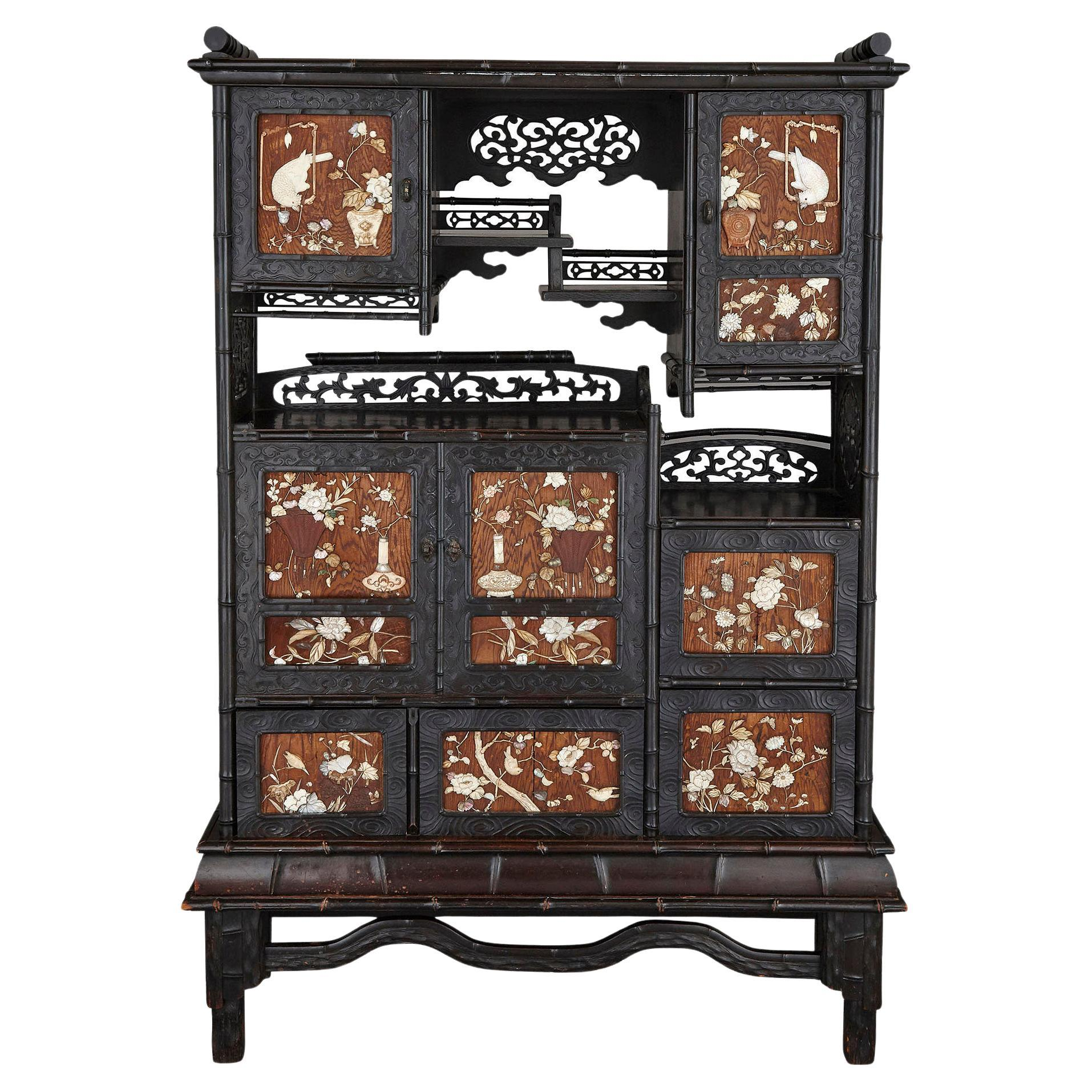 Antique Japanese Meiji Cabinet Inlaid with Mother-of-pearl