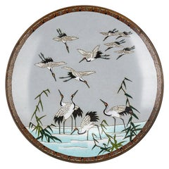 Antique Japanese Meiji Cloisonne Bird Plaque 19th Century