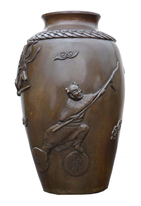 Antique Japanese Meiji Period Bronze Vase In Good Condition For Sale In Wisbech, Cambridgeshire