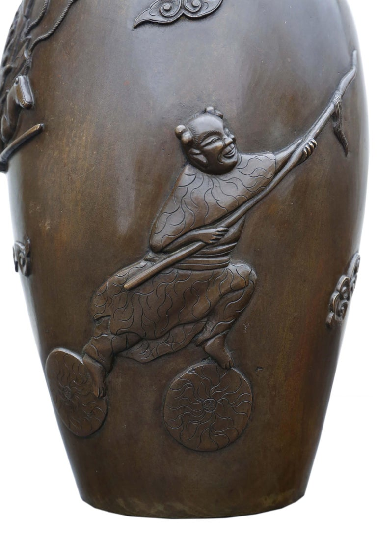 19th Century Antique Japanese Meiji Period Bronze Vase For Sale