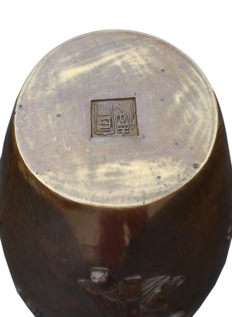 Antique Japanese Meiji Period Bronze Vase For Sale 5