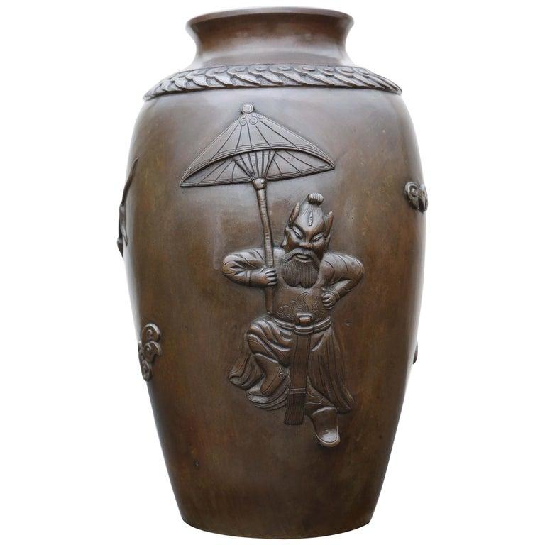Antique Japanese Meiji Period Bronze Vase For Sale