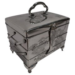 Antique Japanese Meiji Silver Jewelry Box