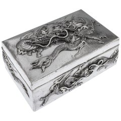 Antique Japanese Meiji Solid Silver Dragon Box, Samurai Shokai, circa 1900
