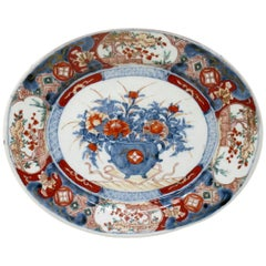 Antique Japanese Meji Hand Painted Imari Dish Centerpiece Plate Cobalt Blue Red