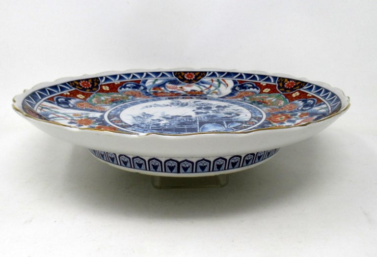 19th Century Antique Japanese Meji Hand Painted Imari Dish Centerpiece Wall Plate Cobalt Blue For Sale